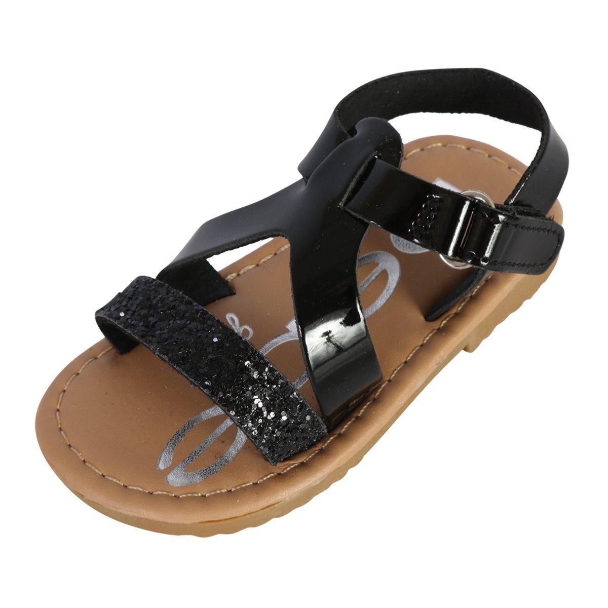 bebe Girls Metallic Glitter Sandals, Black, 8 M US Toddler'