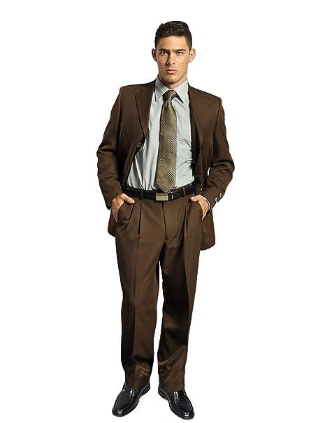 YZHEN Hombre Chaqueta y pantalón Slim fit con Traje marrón ...