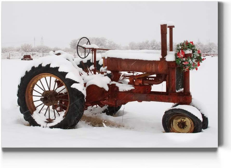 Renditions Gallery Red Christmas Tractor Wall Art, Peaceful Decorations, Snowy Country Setting, Christmas on The Farm, Gallery Wrapped Canvas Decor, Ready to Hang, 18 in H x 27 in W, Made in America