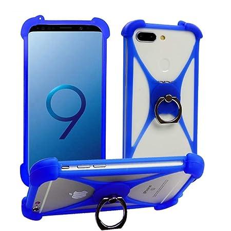 Azul Anillo Funda Case para Vernee Apollo Lite M3 M5 M6 X1 T3 M8 Pro Mix 2 Active Silicona Protectora Cover Protección Bumper Carcasa Elástica Suave ...