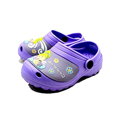 0bdb8837e21 Lilac Rubber Clog Style Beach Shoes Sandals with Disney Cinderella to Front