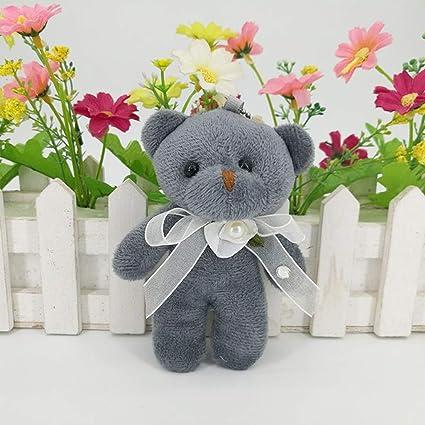 con ciondolo a forma di orsetto siamese portachiavi fai da te bambola regalo bianco a forma di orsetto Lifet bambola di Natale giocattolo 5 pezzi ornamenti da appendere in peluche