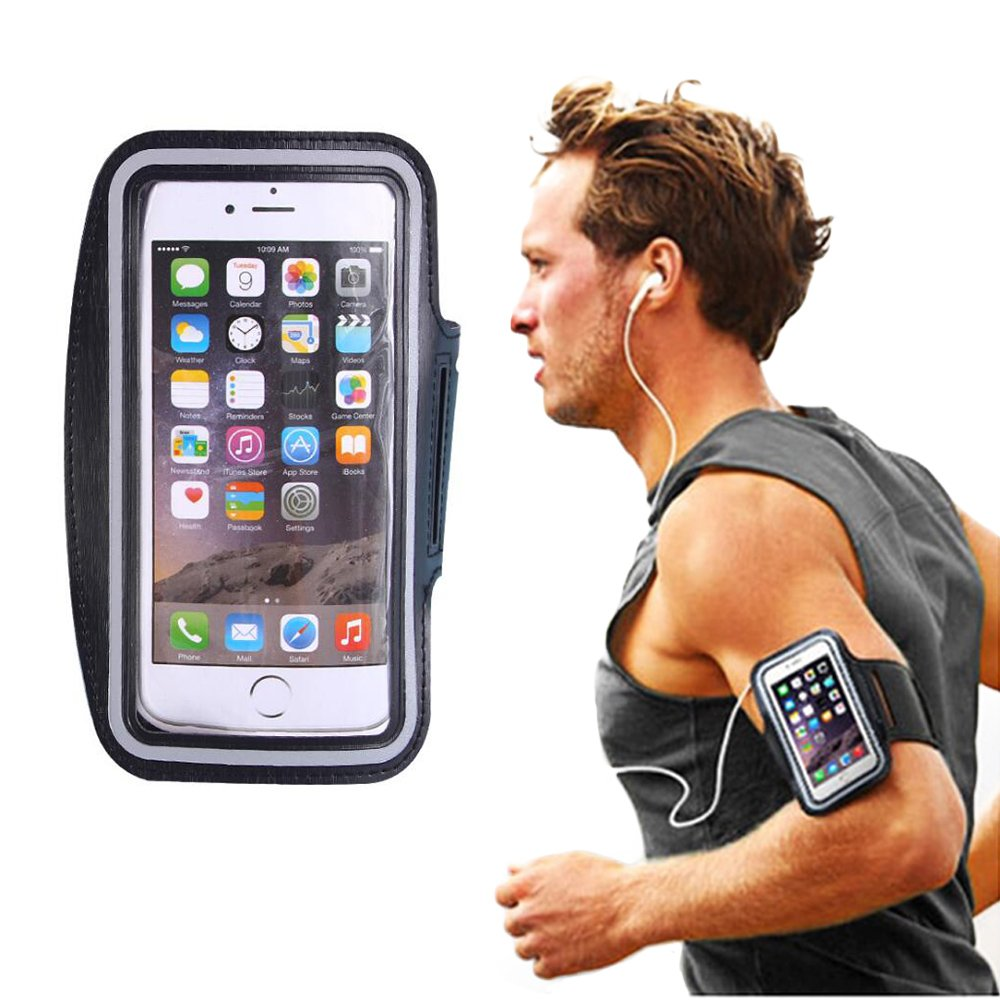 Cell Phone Armband Sweatproof Sport Arm Band Strap Water Resistant Exercise Workout Band Pouch for iPhone6/6Plus,iPhone7/7Plus for Running,Jogging,Training Sports (L-Black) Ouchver
