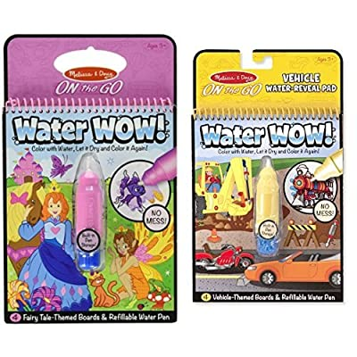 Melissa & Doug On The Go Water Wow! Fairy Tale and Coloring Book - Vehicles Bundle: Toys & Games