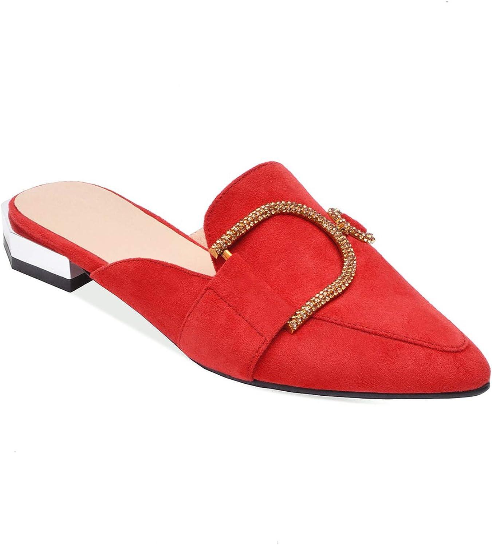 Sweetest-Thing Pointed Mule Slippers,Womens Slippers Low Heel Pointed Toe Slip On Flip Flops Mules,Pink,16