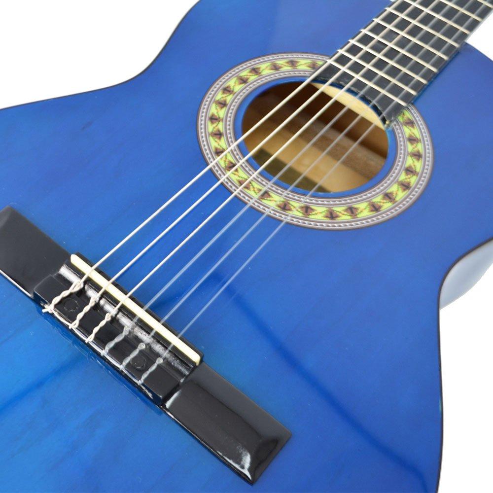 rocket cg34bl guitare espagnole classique taille 3-4 bleu