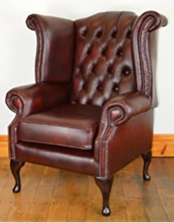 Chesterfield Fauteuil Oxblood.Chesterfield Genuine Leather Queen Anne Chair Antique