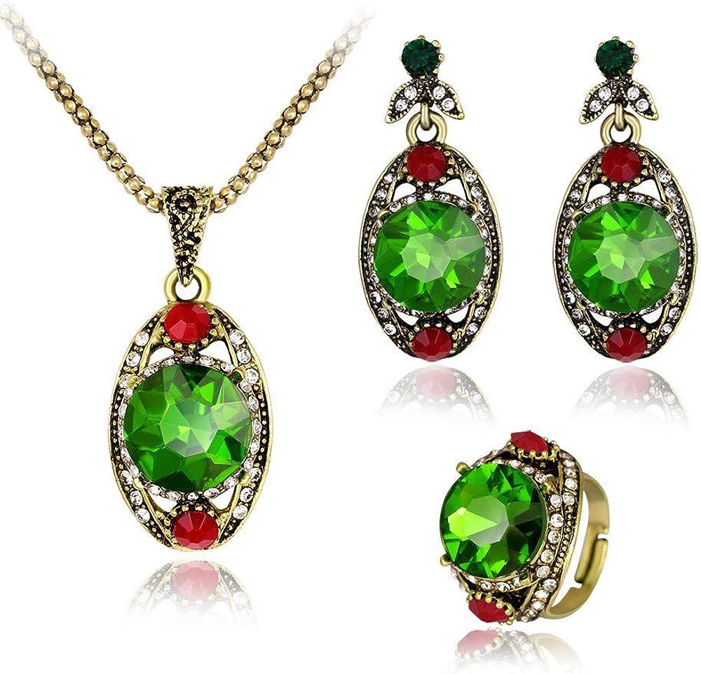Laylae Collar Joyas Juego De Anillos De Aretes De Collar De Piedras Preciosas Verdes con Incrustaciones De Bronce Antiguo.