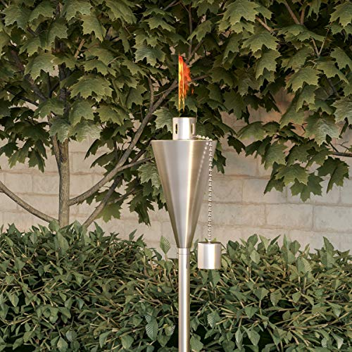 """Pure Garden 50-223 Outdoor Torch Lamp-46"""" Patio/Backyard Stainless Steel Fuel Canister Flame Light for Citronella with Fiberglass Wick, Adjustable Height"""