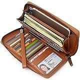 Women RFID Blocking Wallet Genuine Leather Zip Around Clutch Large Travel Purse (Brown) …