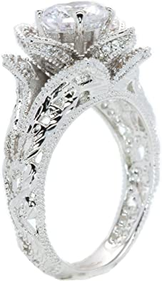 Princess Kylie Cubic Zirconia Two Piece Flower Designer Ring Rhodium Plated Sterling Silver