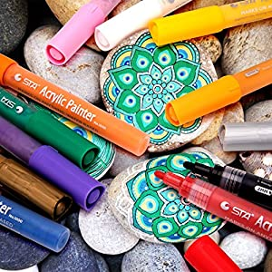 Acrylic Paint Pens for Rocks Painting, Glass, Metal, Canvas, Wood, Ceramic, Fabric Painting, DIY Crafts, Christmas Gift Card Making. Water-Based Acrylic Paint Marker Pens Permanent. 12 Colors/Set