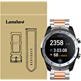 for TicWatch Pro Band, Lamshaw Stainless Steel Metal Replacement Straps for TicWatch Pro Bluetooth Smart Watch (Silver-Rose Gold)
