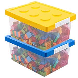 Toy Storage,LUCKY-GO Kids Toys Box and Organizers, 2 Piece Container Bundle with Compatible Building Baseplate,Toy Chests, Brick Storage Set for Nursery, Playroom, Closet, Home
