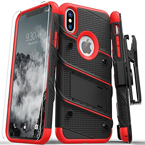 Red Pattern Glass - Zizo Bolt Series Compatible with iPhone X Case Military Grade Drop Tested with Tempered Glass Screen Protestor, Kickstand and Holster Black RED