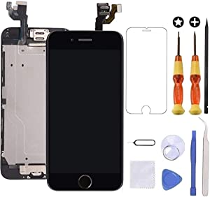 Brinonac for iPhone 6 Plus Screen Replacement Black Touch Display LCD Digitizer Full Assembly with Front Camera,Proximity Sensor,Ear Speaker and Home Button Including Repair Tool and Screen Protector