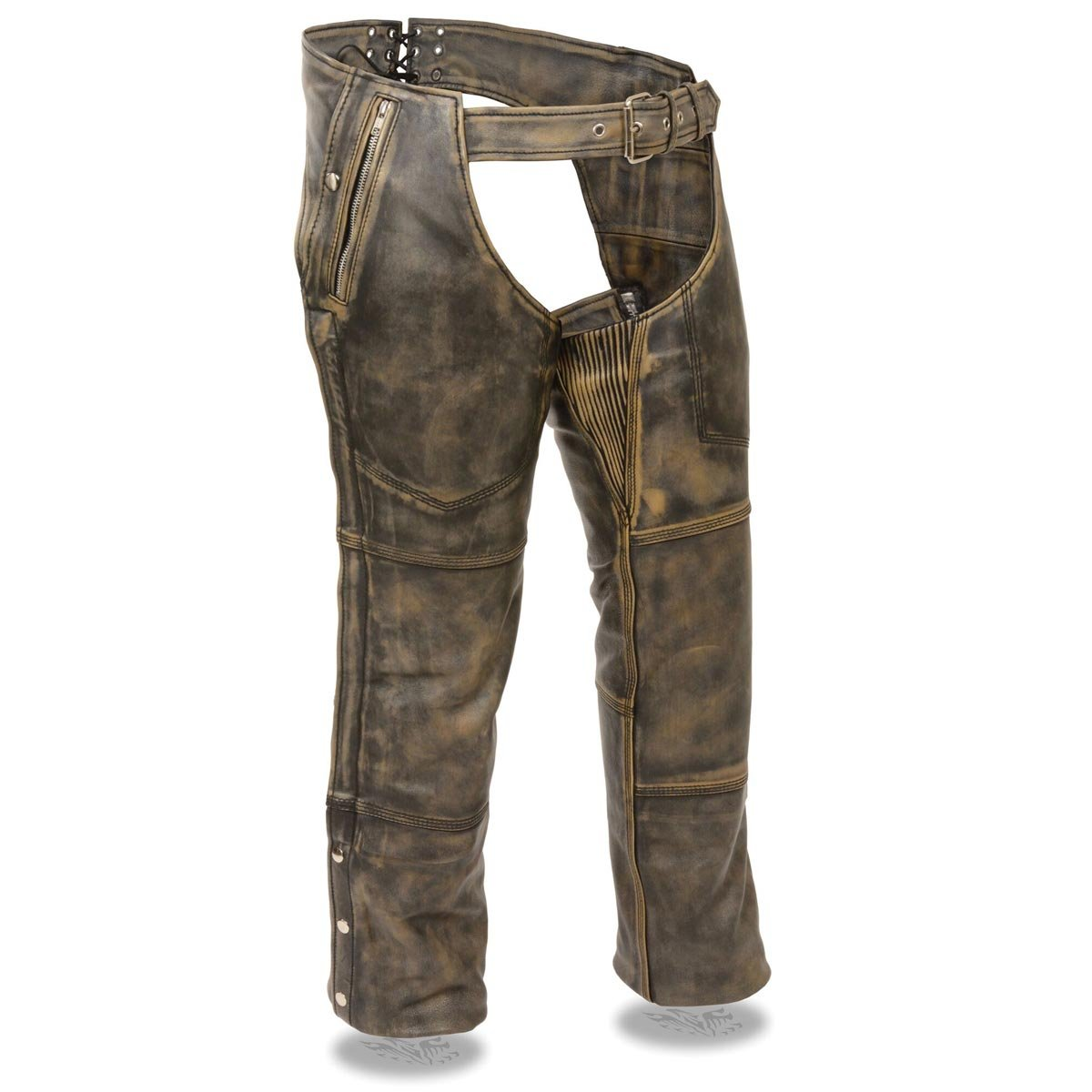 Milwaukee Leather Mens Four Pocket Thermal Lined Distressed Brown Leather Chaps - 6X-Large