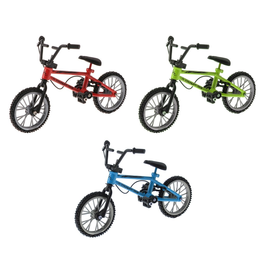 Fenteer 3 Stücke Mini Finger Fahrrad Fingerbike Bicycle Fingerrad Fingerboard Spielzeug für Kinder ( Rot + Blau + Grün )