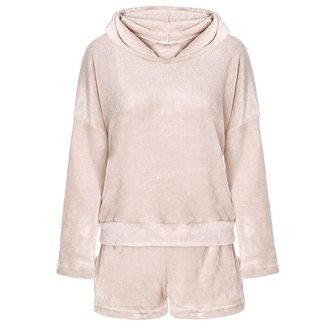 2 unids Mujeres Gato Pijamas Lindo Meow Sleepwear Shorts de Albornoz Suave Winter Lounge Sleepwear Sets: Amazon.es: Ropa y accesorios