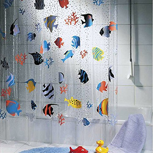 "GUANYUAN 72""x78"" Waterproof Transparent PVC Shower Curtains with 12 Hooks,Colorful Printing Underwater World Tropical Fish Bathroom Shower Curtains,Bath Screens"