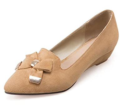 0a519df6ff37 Mofri Women s Comfy Bowknot Pointed Toe OL Work Shoes Low Wedge Heel Slip  on Pumps (