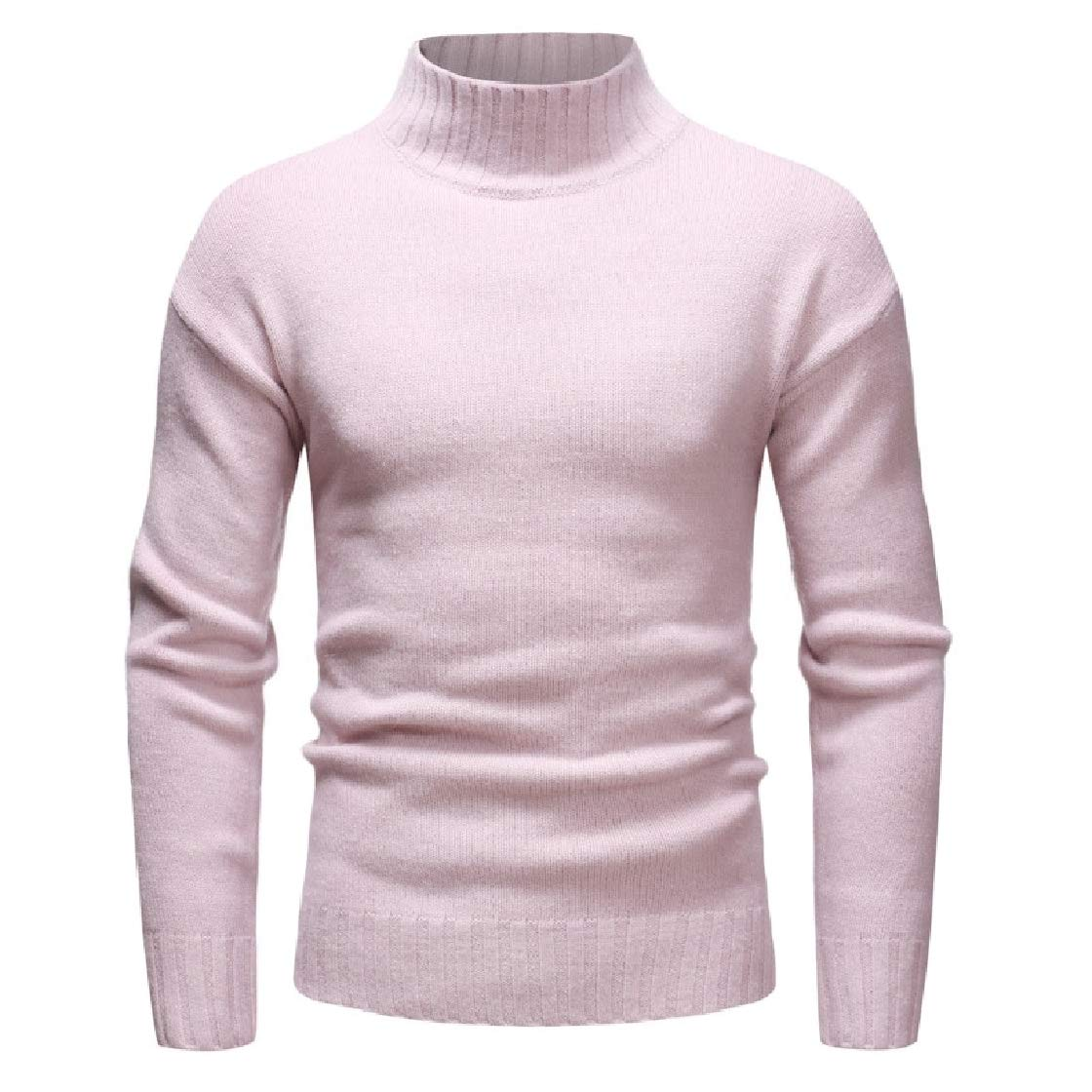YUNY Mens Pullover Simple Chic Soft Knitwear Pure Color High Neck Sweaters Pink S