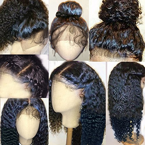 Human Lace Front Wig (Thriving Hair 7A Full Lace Human Hair Wigs for Black Women Curly Brazilian Virgin Hair Lace Front Human Hair Wigs Glueless Full Lace Wigs with Baby Hair(12inch with 130% density,)