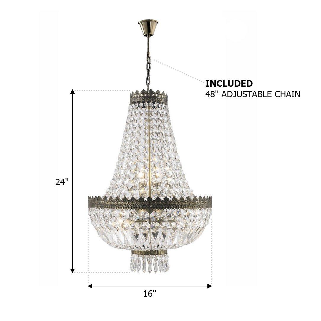 Worldwide lighting w83084b16 metropolitan 6 light mini chandelier antique bronze finish and clear crystal 16 d x 24 h amazon com