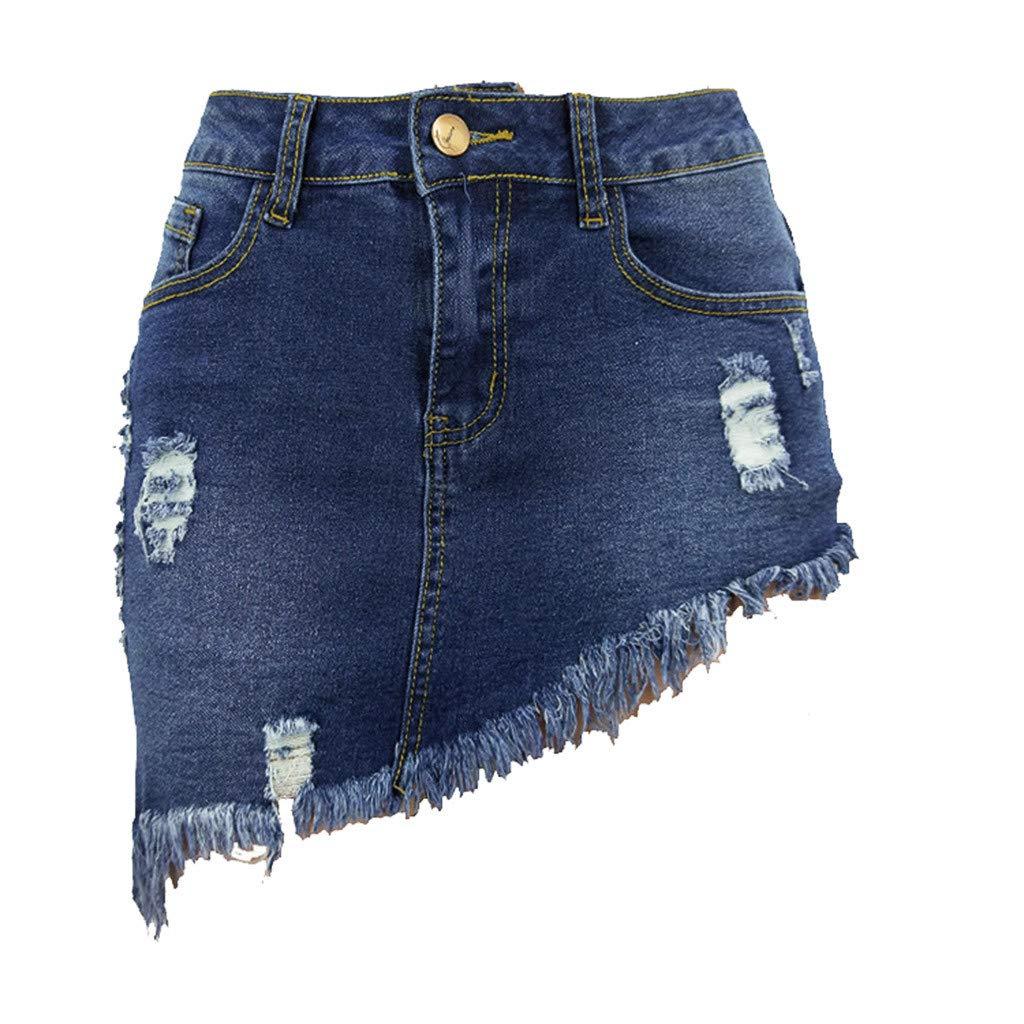 Short Denim Skirt for Women Casual Distressed Ripped A-Line Denim Short Skirt (Dark Blue, L)