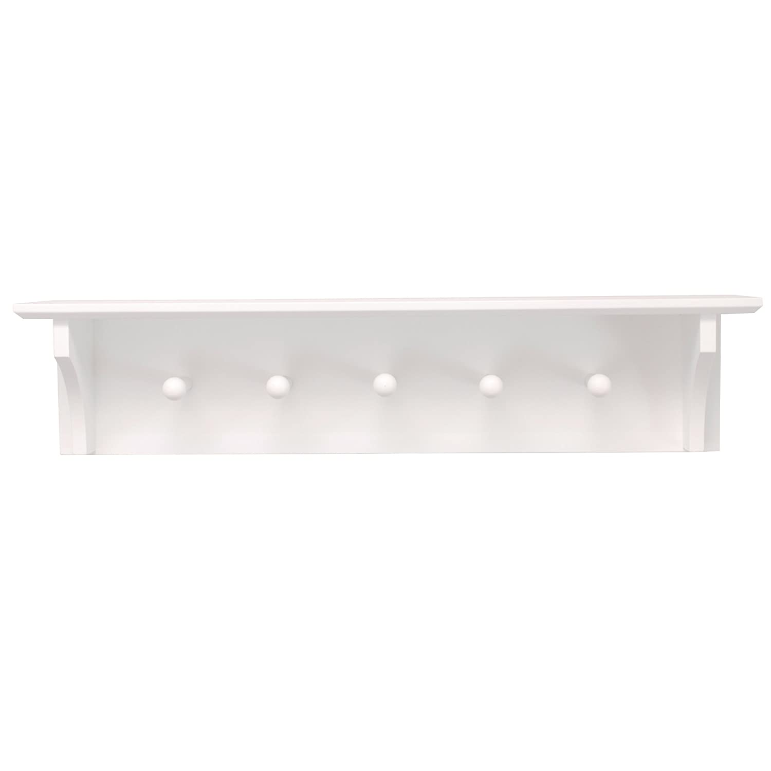 nexxt Foster Wall Shelf with 5 Pegs, 24-Inch by 5.5-Inch, White FN00381-2INT