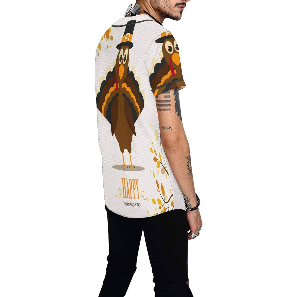 INTERESTPRINT Mens Button Down Baseball Jersey Turkey and Autumn Leaves