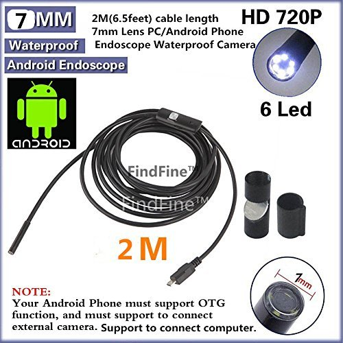 FindFine® 6.5FT Long Android Smartphone USB Endoscope Inspection Camera 7mm Diameter Ultra Slim 6 LEDs HD IP67 Waterproof Snake Borescope Mini USB Inspection Camera