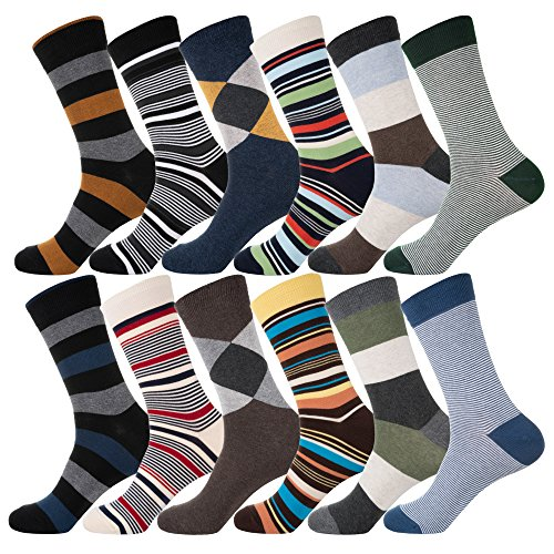 YourFeet Men's 12 Pack Thin Cotton Colorful Stripe Argyle Designed Business Dress Socks Gift Size 9-12 (Assorted-2) by KONY (Image #5)