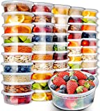 8 oz freezer storage containers - 50pk 8oz Small Plastic Containers with Lids - Slime Containers with lids Freezer Containers Deli Containers with Lids - Food Containers Meal Prep Food Prep Containers Plastic Food Containers with Lids