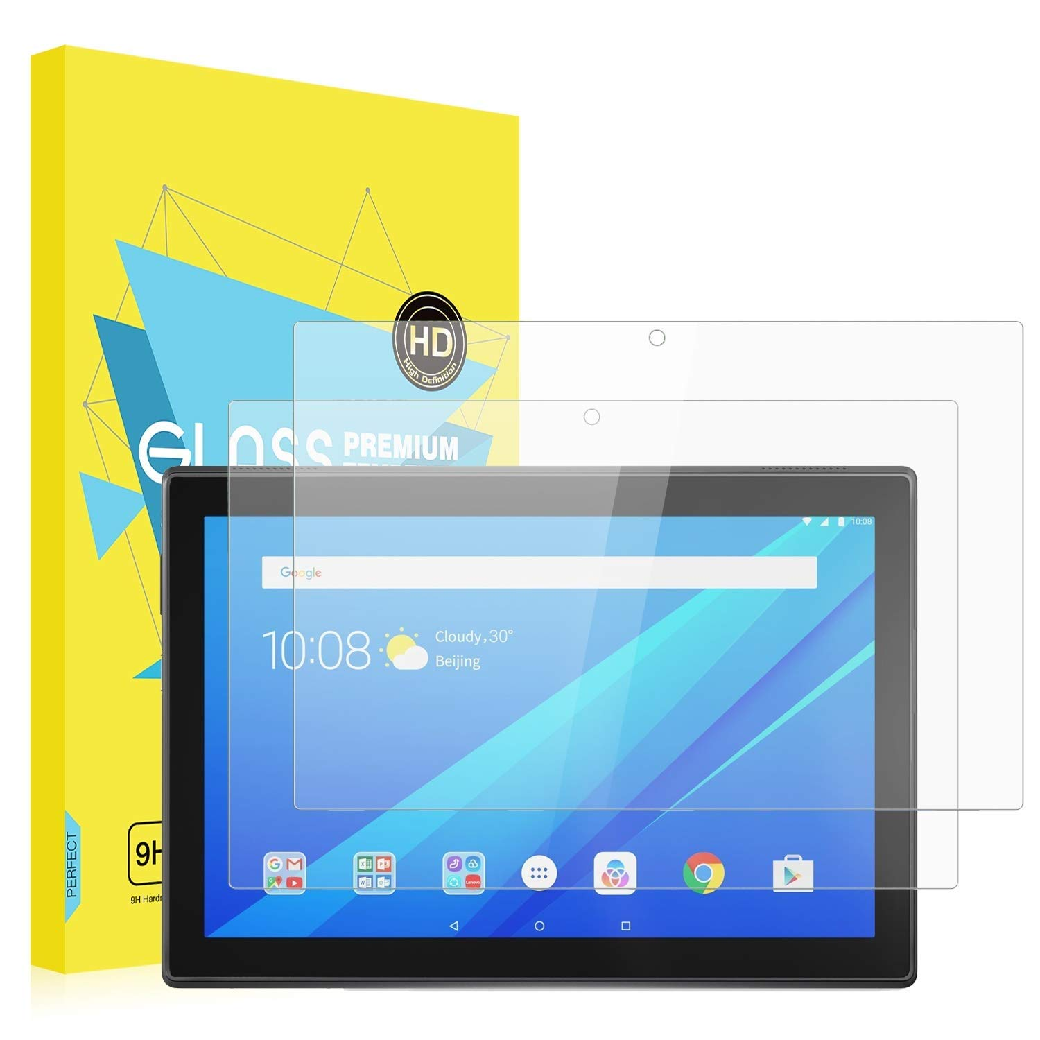 [2 Packs] MoKo Lenovo Tab 4 10 Inch Screen Protector - [Scratch Terminator]  Anti-Bubble Premium HD Clear 9H Hardness Tempered Glass Screen Protector