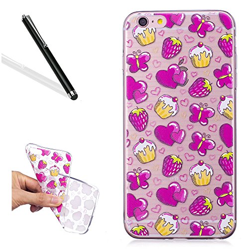 Painted Strawberry - Soft Case for iPhone 5S,Rubber Cover for iPhone SE,Leecase Creative Beautiful Rose Red Heart Strawberry Painted Design Transparent Clear Soft Silicone Phone Case Cover for iPhone 5S/SE/5