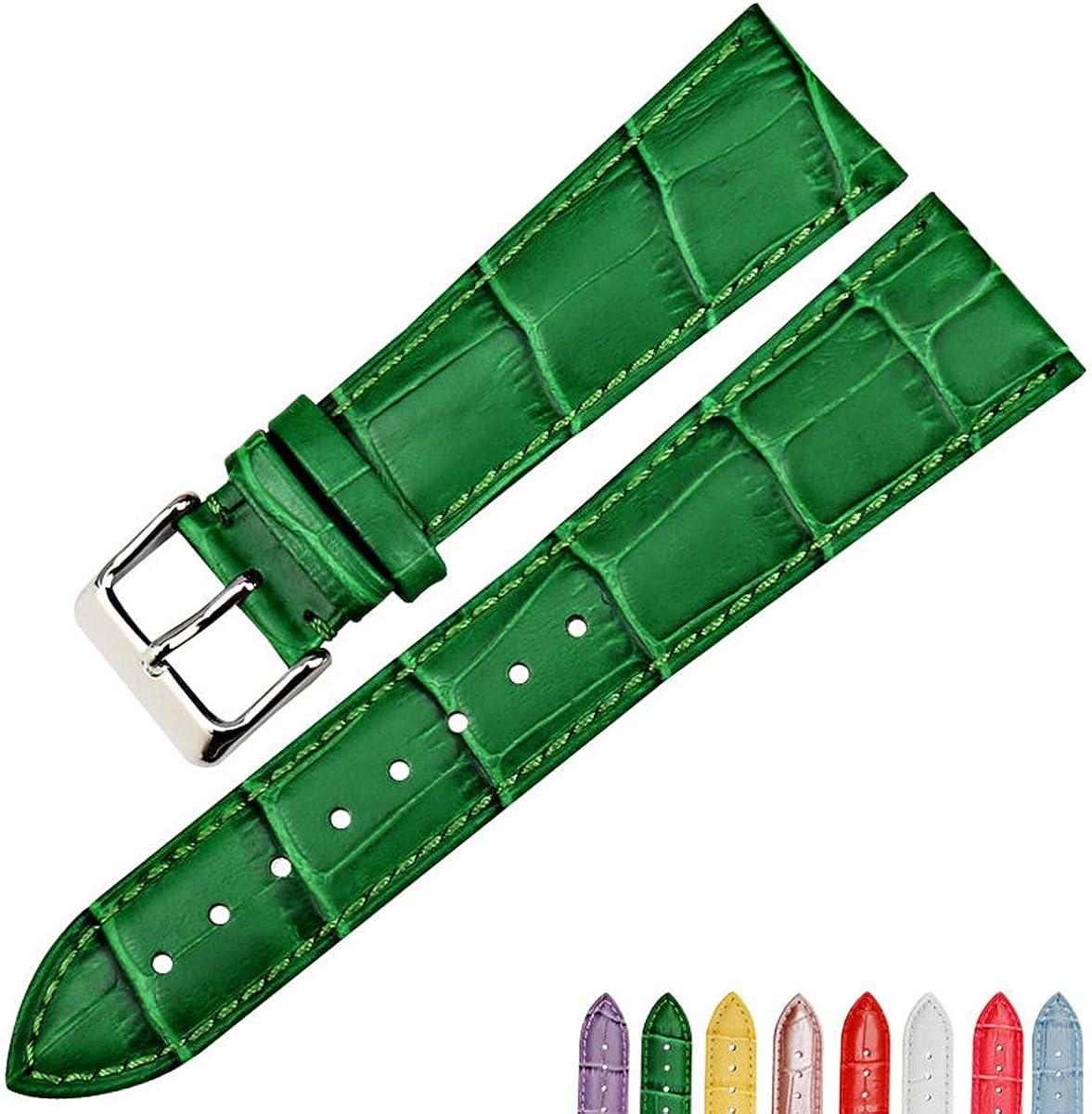 Accessoires de Montre 16mm-22mm Boucle ardillon du Bracelet Montre en Cuir Bracelet Vert Femmes watchbands Blue