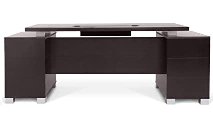 Ford Executive Modern Desk With Filing Cabinets   Dark Wood Finish