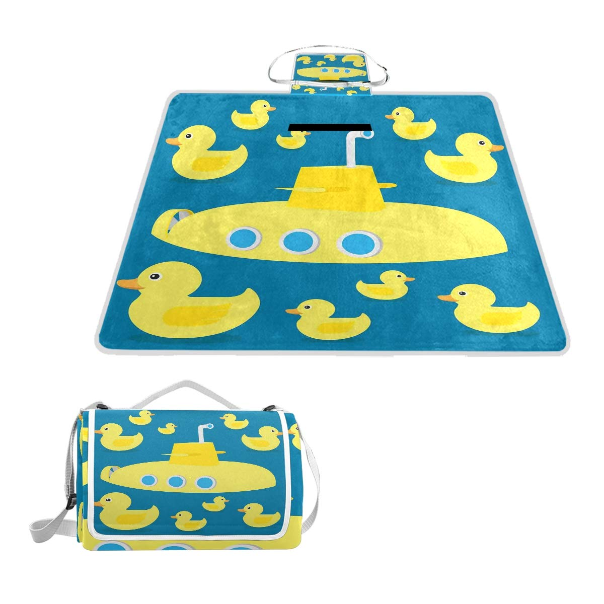 KVMV Duckies Swimming The Sea with Yellow Submarine Kids Party Nautical Print Picnic Mat Sandproof and Waterproof Outdoor Picnic Blanket for Camping Hiking Beach Grass Travel by KVMV