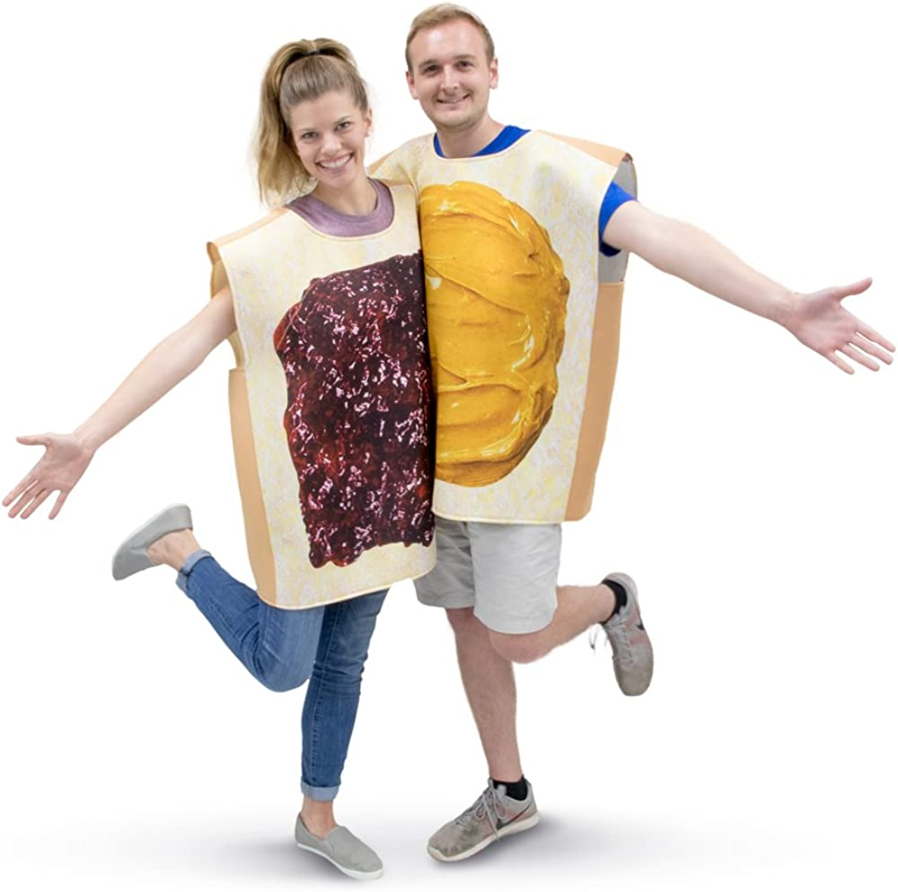 Peanut Butter & Jelly Adult Couple's Halloween Costume | PBJ Funny Food Suits Brown