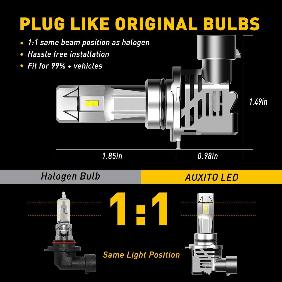 Pack of 2 AUXITO 9006 LED Headlight Bulbs 12000LM Per Set 6500K Xenon White Mini Size HB4 Wireless Headlight