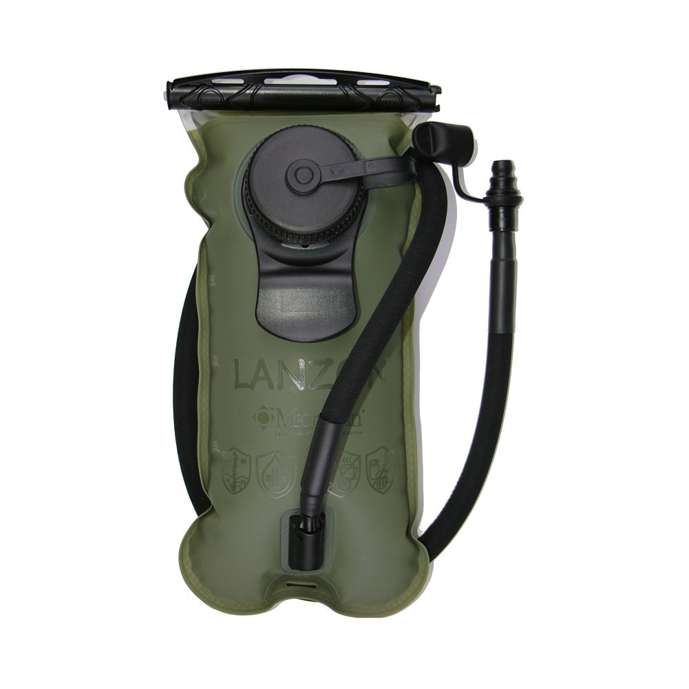 LANZON 2L / 2 Liters Hydration Water Bladder (NO Cleaning Kit) - Military Green - Leakproof Reservoir, FDA Approved, Hiking Bladder