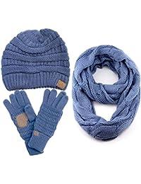 CC 3pc Set Trendy Warm Chunky Soft Stretch Cable Knit Beanie Scarves Gloves Set