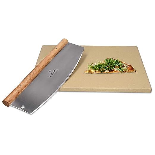 Navaris Set de piedra y cortador para pizza - Piedra para horno de ...