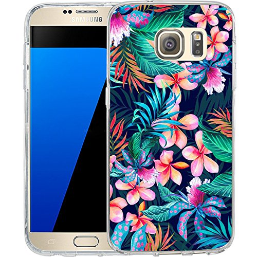 ia style hibiscus flowers, LAACO Scratch Resistant TPU Gel Rubber Soft Skin Silicone Protective Case Cover for Samsung Galaxy S7 (Style Silicone Rubber Case)