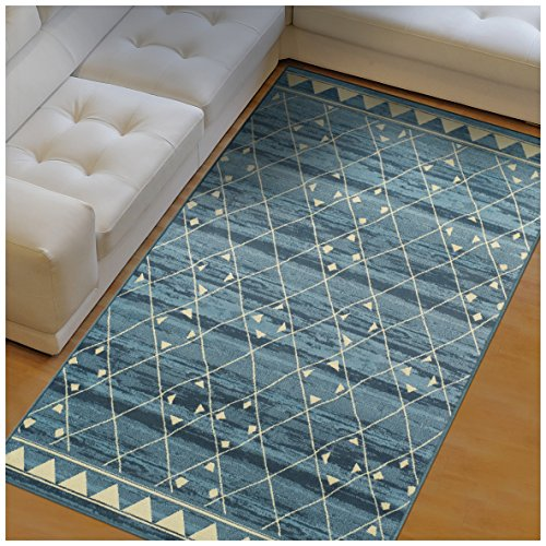 Superior Jarvis Collection Area Rug, 10mm Pile Height with Jute Backing, Fashionable and Affordable Rugs, Geometric Windowpane Pattern over Watercolor Stripes - 5' x 8' Rug, Blue and Beige