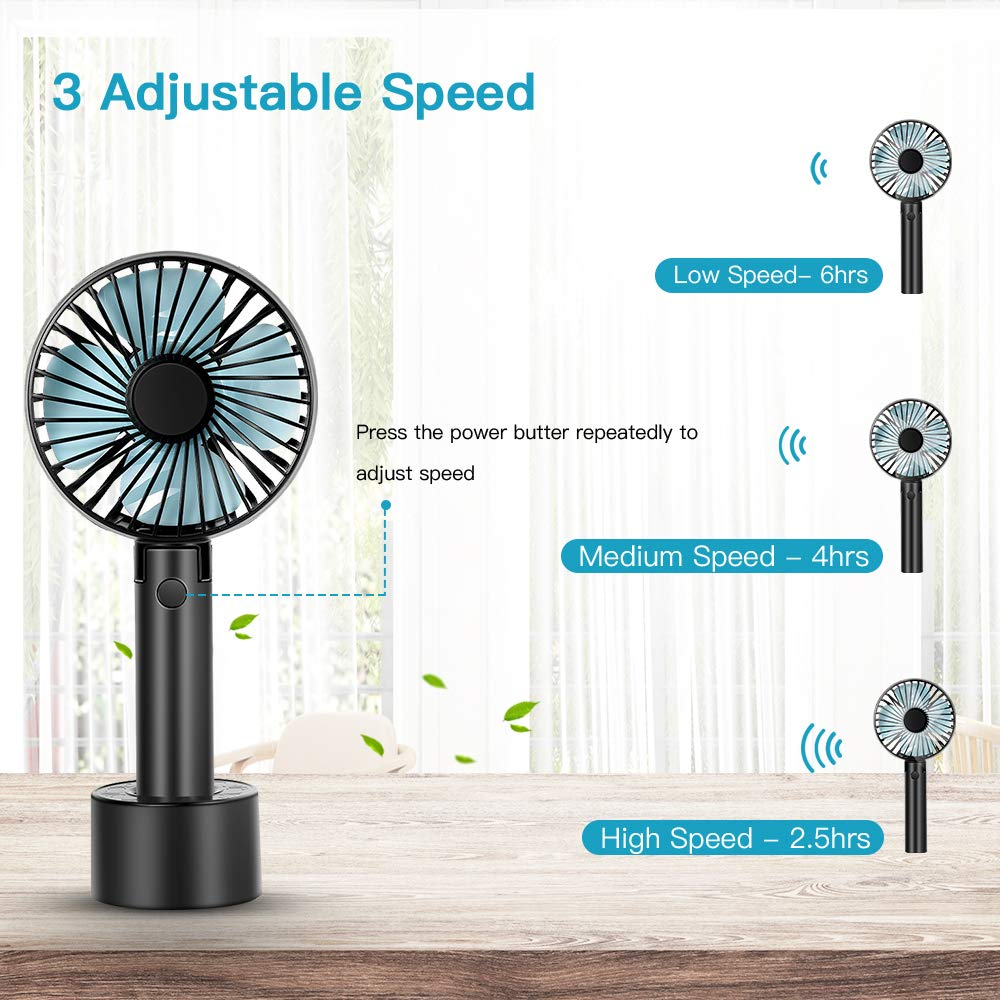 Pimpimsky Mini Handheld Fan,Personal Portable USB Rechargeable Fan with Battery and 3 Setting, Foldable Design, Cooling Desktop Electric Fan with Base for Home/Office/Office/Outdoor(Black)
