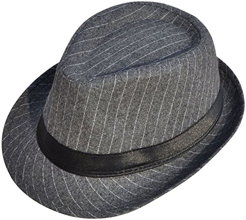 Halconia Women Classic Striped Manhattan Trilby Short Brim Fedora Hat,Grey/Black (Mens Striped Fedora)
