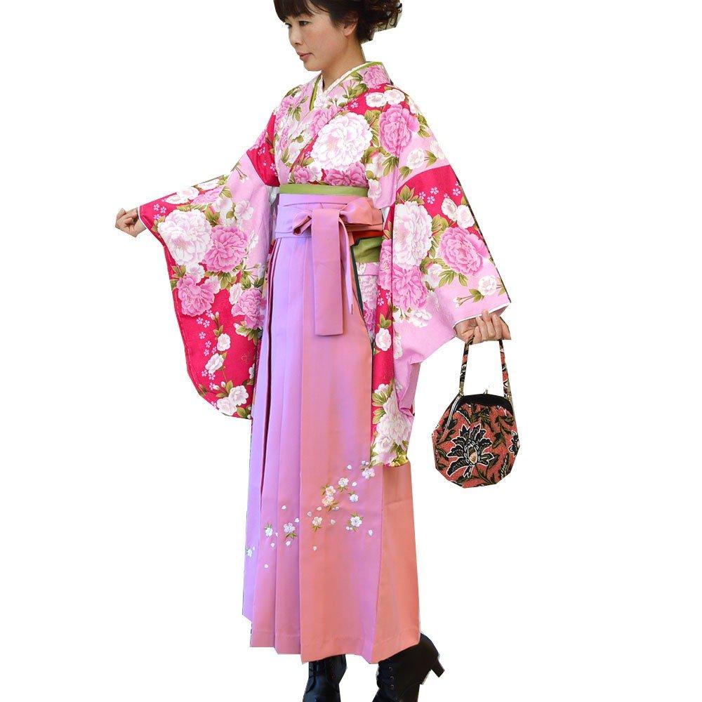 卒業式 袴セット 女性レディース二尺袖着物刺繍袴セット 5サイズ6色/ B00APG1FQM M(91cm)|ピンク ピンク M(91cm)