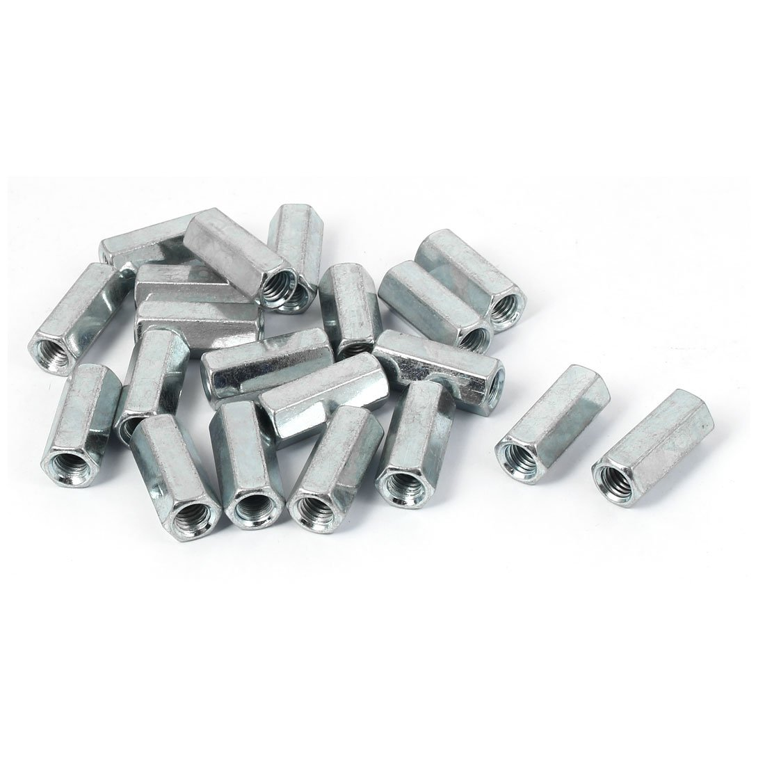 Uxcell a16041400ux0821 Rod Coupling Nut M8 x 12Mm x 30Mm Metal Hex Rod Coupling Connector Nuts Silver Tone 20 Pcs